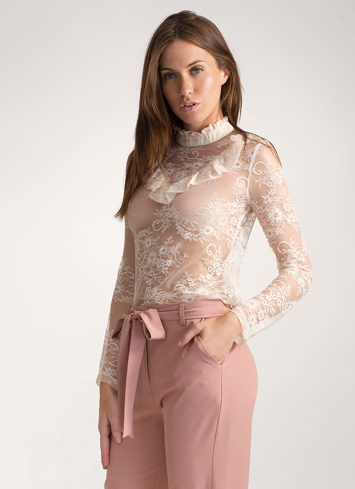 Sweet Side Ruffled Lace Mockneck Top CHAMPAGNE