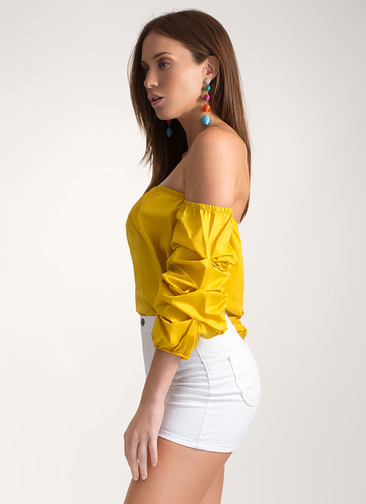 Perfect Ten Puffy Off-Shoulder Top MUSTARD