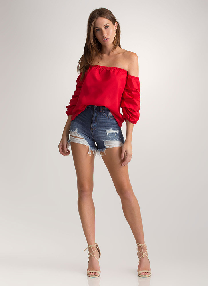 Perfect Ten Puffy Off-Shoulder Top RED