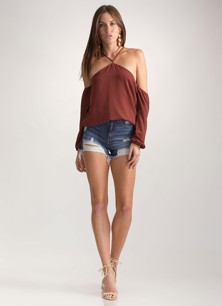 Such A Romantic Flared Cold-Shoulder Top RUST