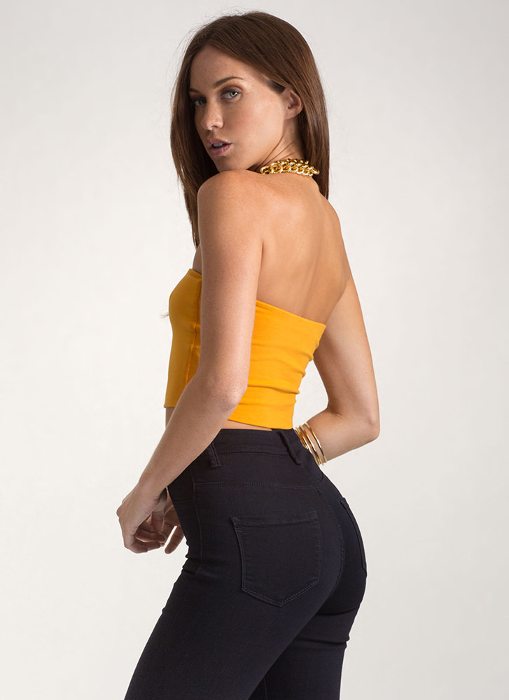 Infinite Possibilities Cropped Tube Top MUSTARD