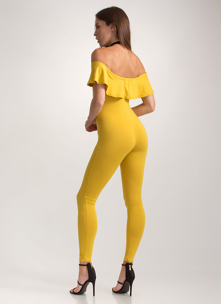 Chic Move Ribbed Off-Shoulder Jumpsuit YELLOW