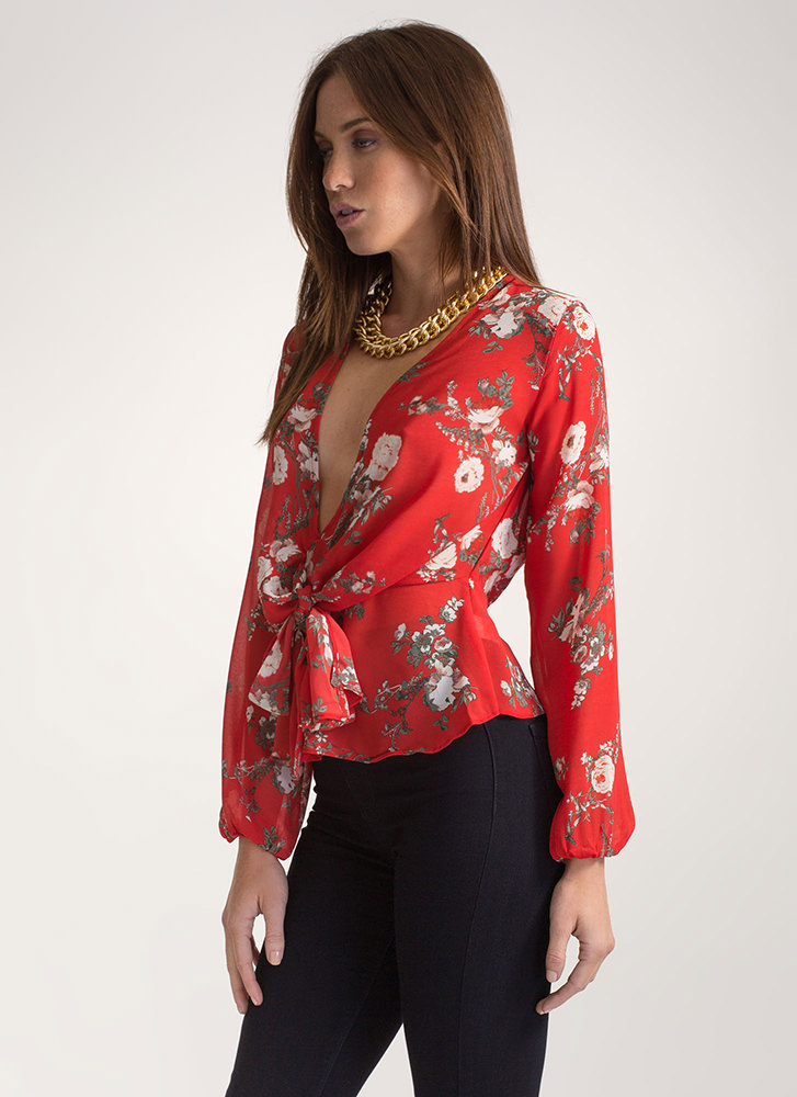 Grow Well Tied Plunging Top RED