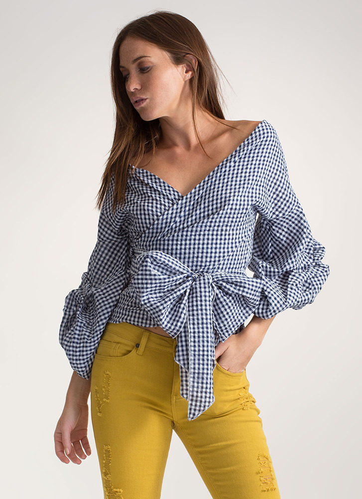 Picnic Date Tied Gingham Wrap Top NAVY
