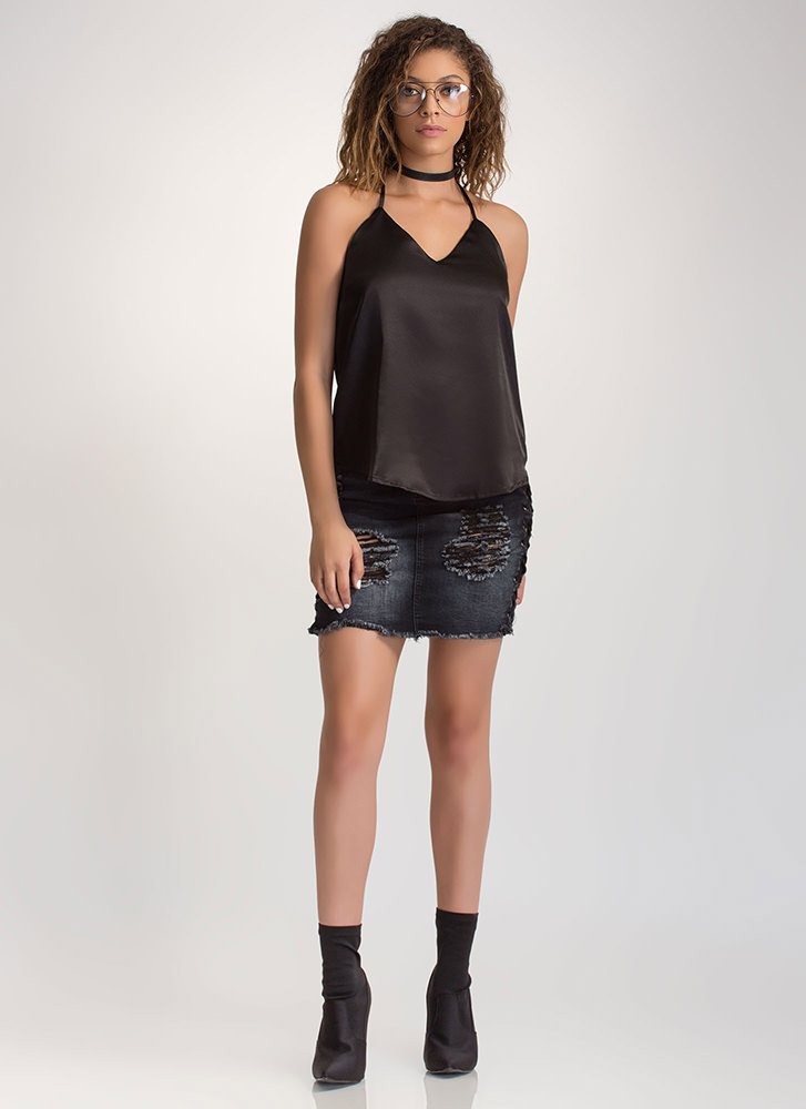 Luxe Touch Strappy Satin Tank Top BLACK