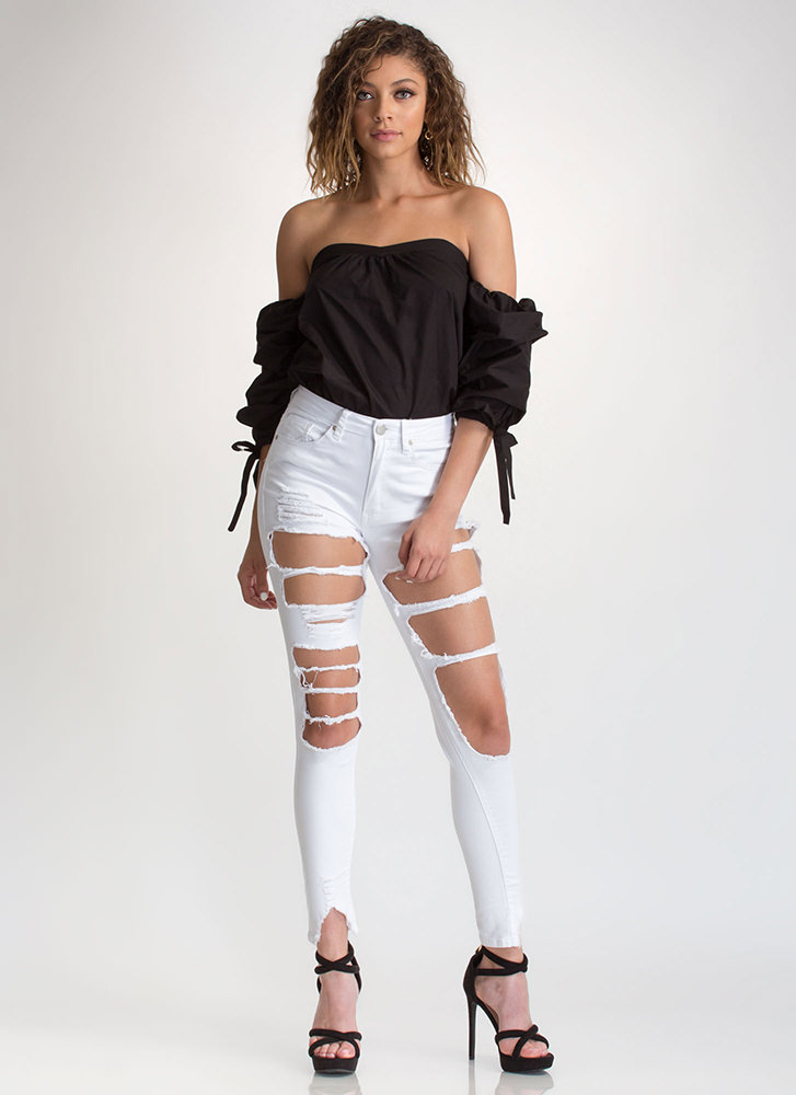 French Countryside Tied Off-Shoulder Top BLACK