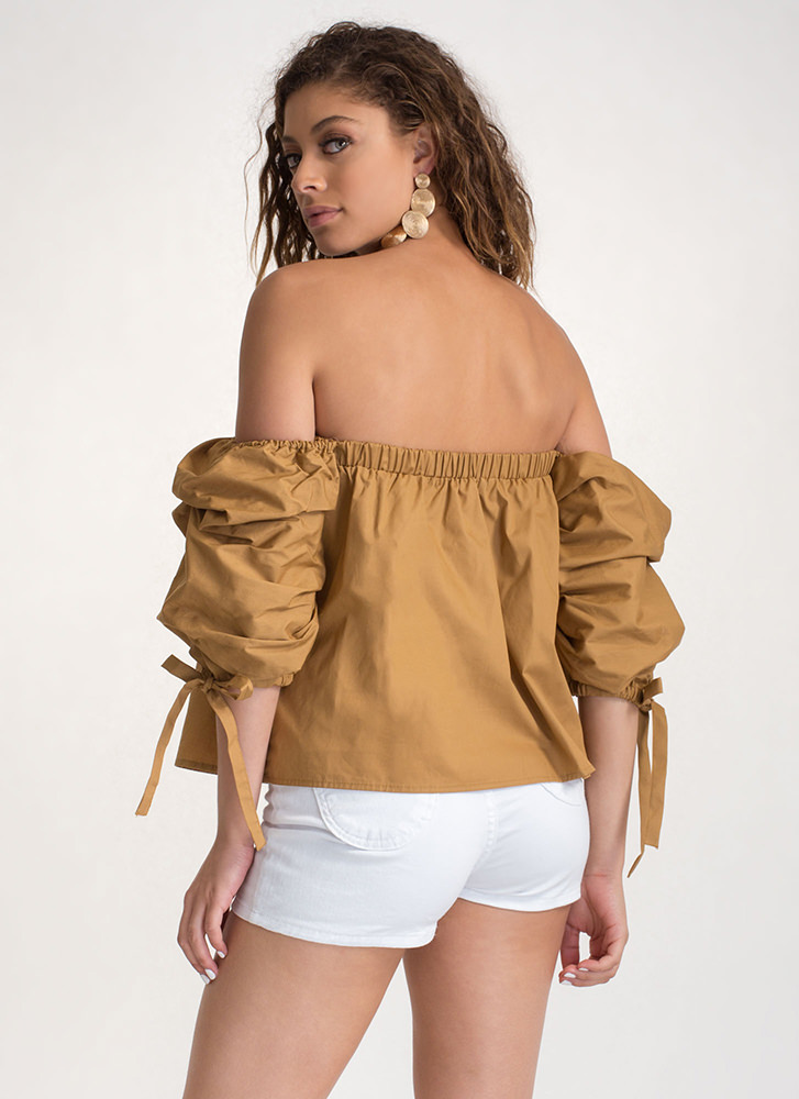 French Countryside Tied Off-Shoulder Top MUSTARD
