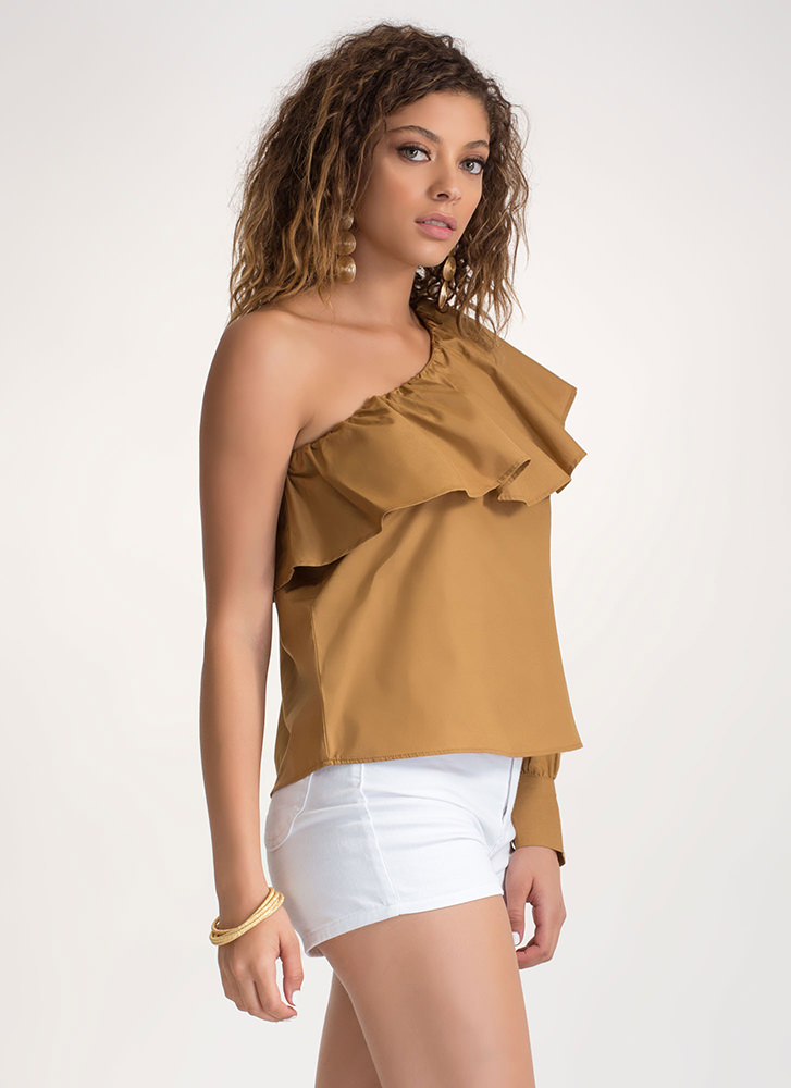Ruffled Radiance One-Shoulder Top MUSTARD