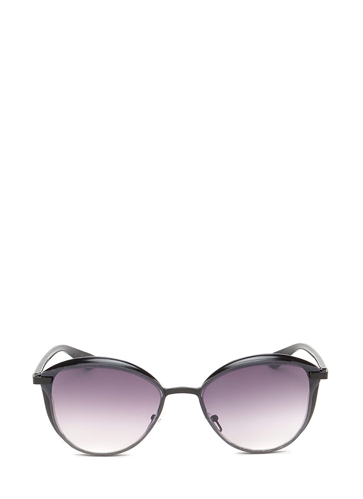 Fashion Editor Shiny Rounded Sunglasses BLACK