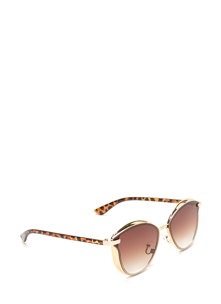 Fashion Editor Shiny Rounded Sunglasses BROWN