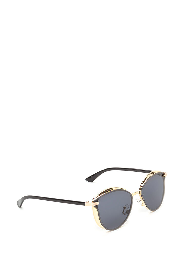 Fashion Editor Shiny Rounded Sunglasses GOLD