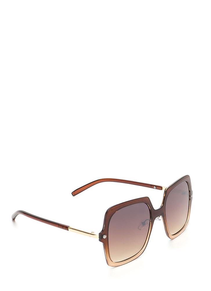 Pool Day Square Sunglasses BROWN