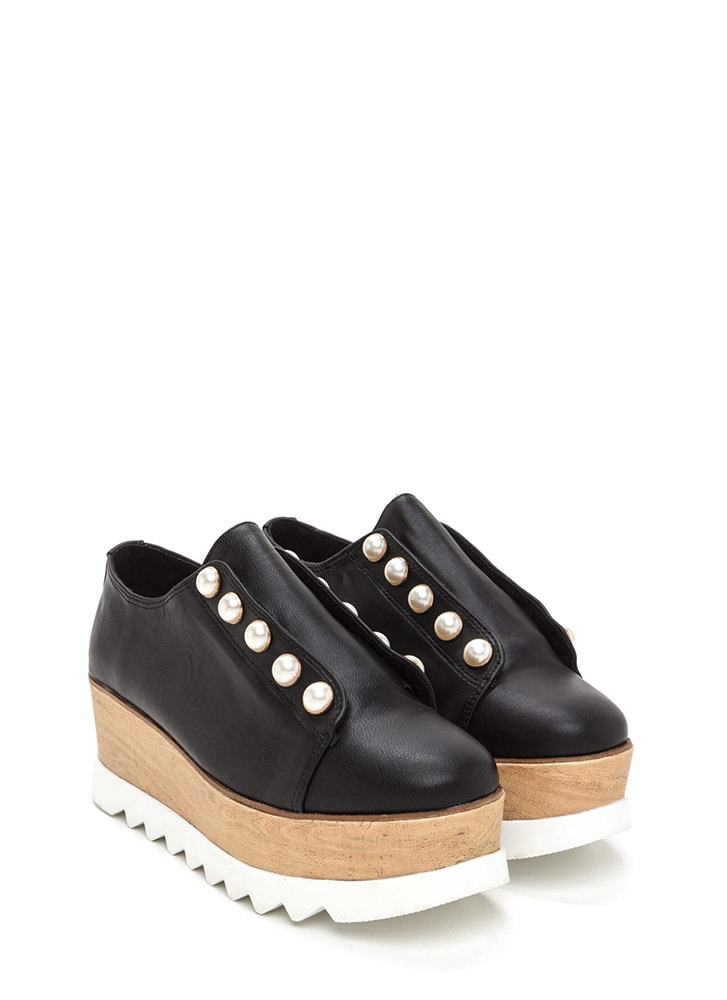 Pearly Perfection Platform Wedges BLACK