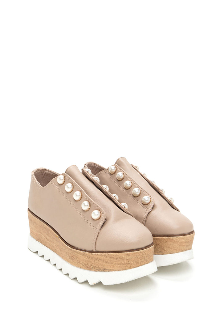 Pearly Perfection Platform Wedges NUDE