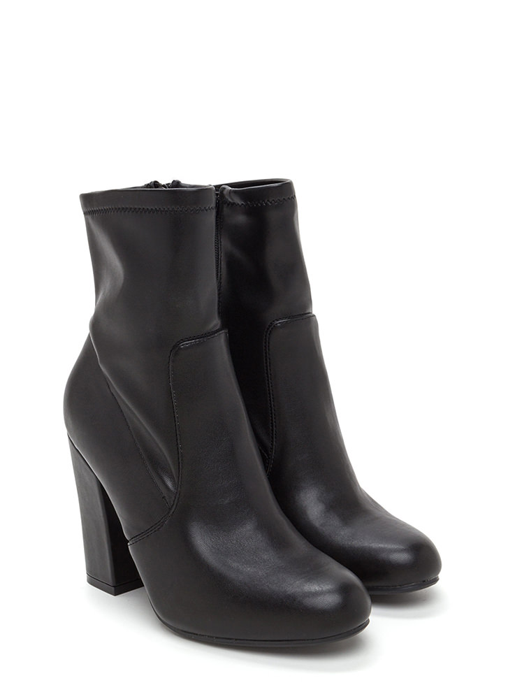 Step To It Chunky Faux Leather Booties BLACK