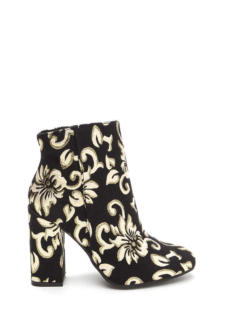 Blocked Off Chunky Floral Swirl Booties BLACKGOLD