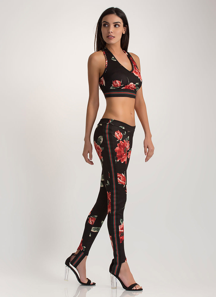 Strike A Rose Top 'N Pants Set BLACK