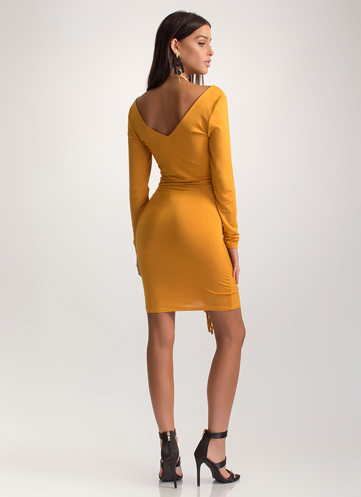 Flattering Curves Plunging Ruched Dress MUSTARD