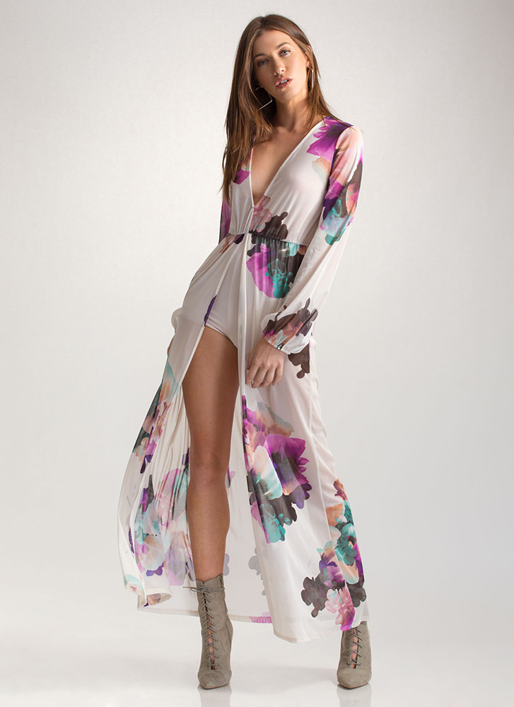 Flower Fantasy Sheer Plunging Maxi IVORY