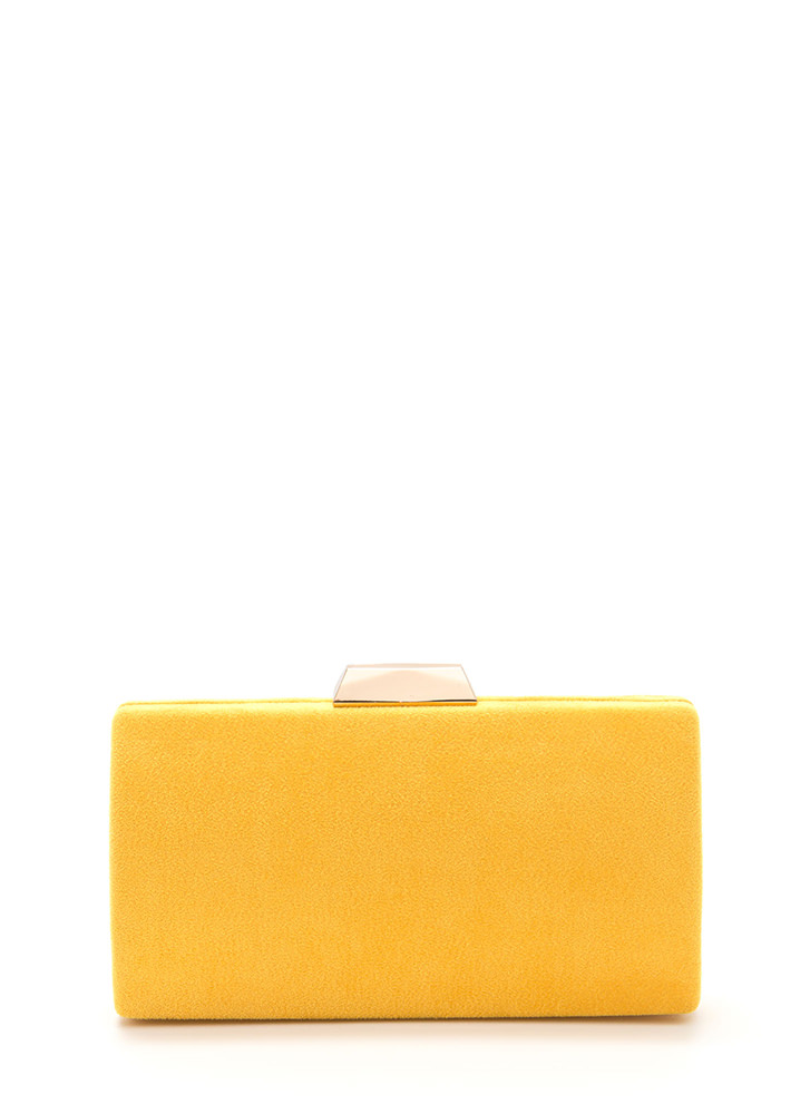 Simple 'N Chic Faux Suede Clutch YELLOW