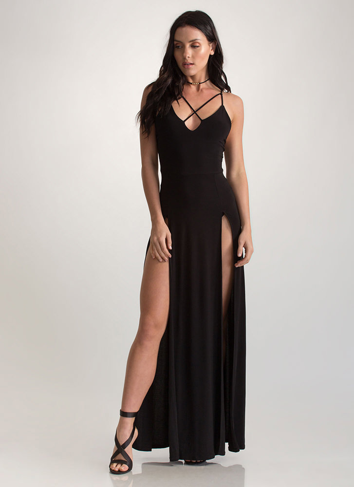 Gal About Town Double Slit Maxi Dress BLACK