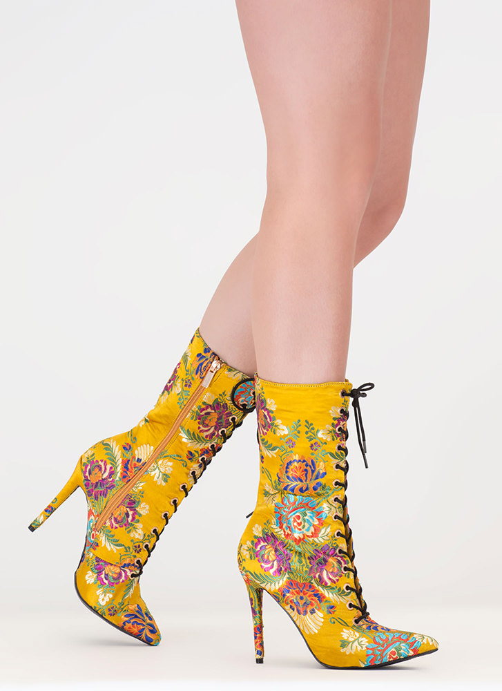 High Point Embroidered Satin Booties YELLOW