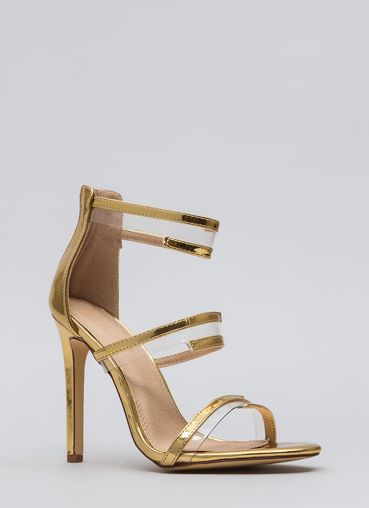 Wrapped In Straps Faux Patent Heels GOLD