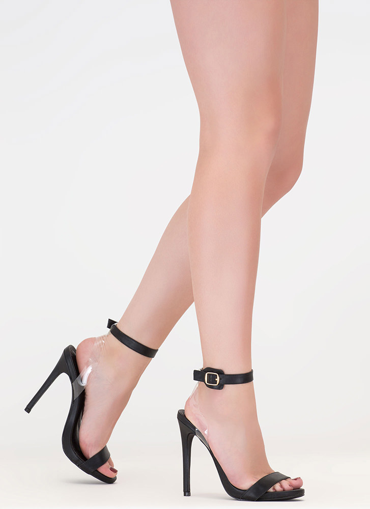 Illusion Faux Leather Ankle Strap Heels BLACK