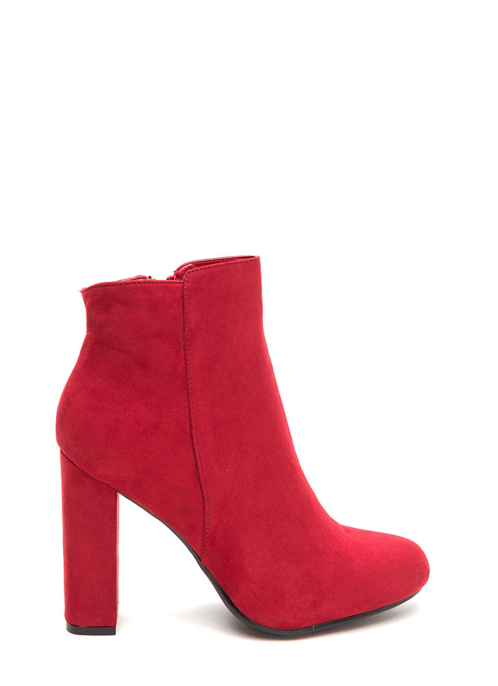 This Is Living Chunky Faux Suede Booties RED