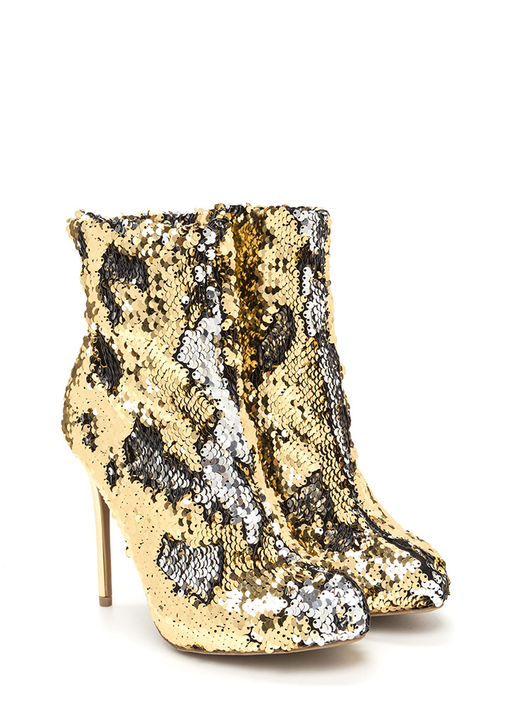 Love Is Blinding Sequined Booties GOLD