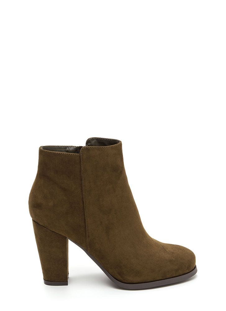 Playdate Chunky Faux Suede Booties OLIVE