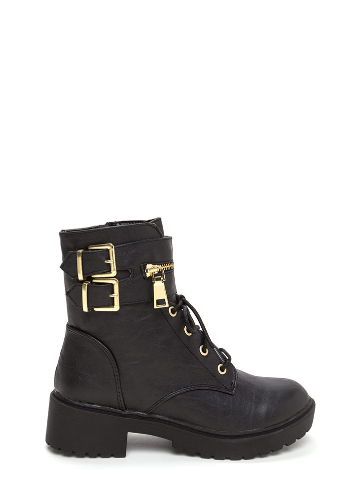 Double Up Buckled Lace-Up Combat Boots BLACK