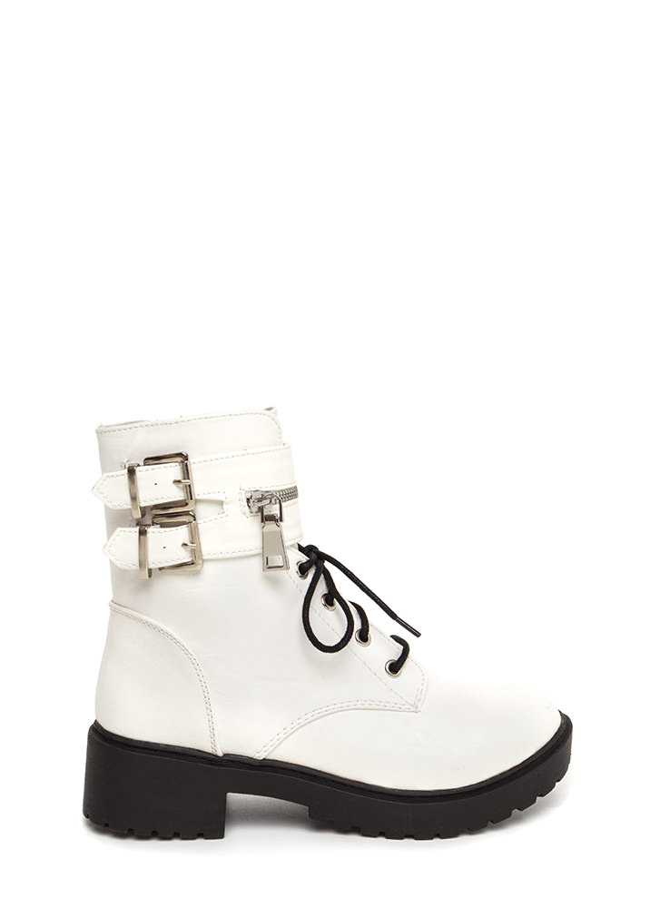 Double Up Buckled Lace-Up Combat Boots WHITE