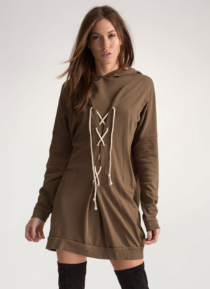 Lounge Lady Lace-Up Hoodie Dress OLIVE