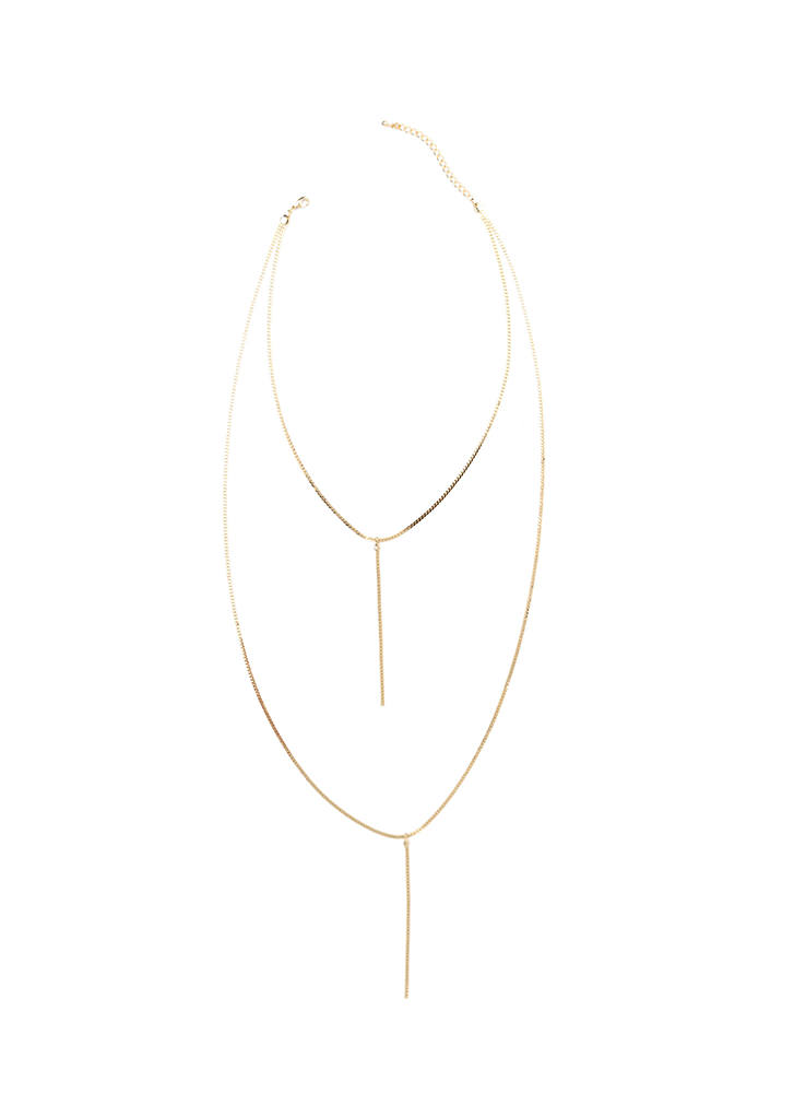 Double Date Layered Y-Necklace GOLD