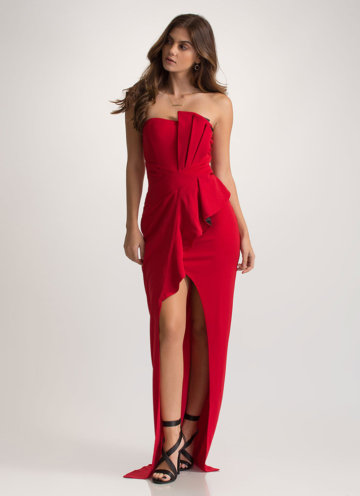 Red Carpet Ready High-Low Maxi Dress RED