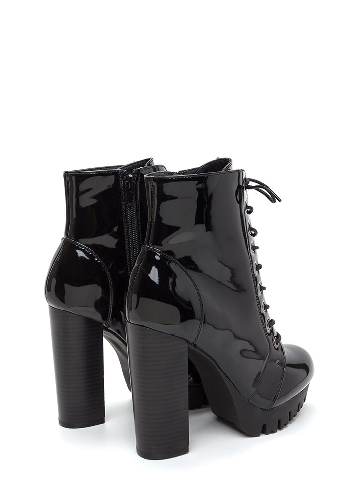 Lug Life Chunky Lace-Up Platform Booties BLACK