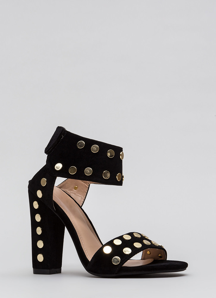 Hot Hardware Chunky Studded Heels BLACK