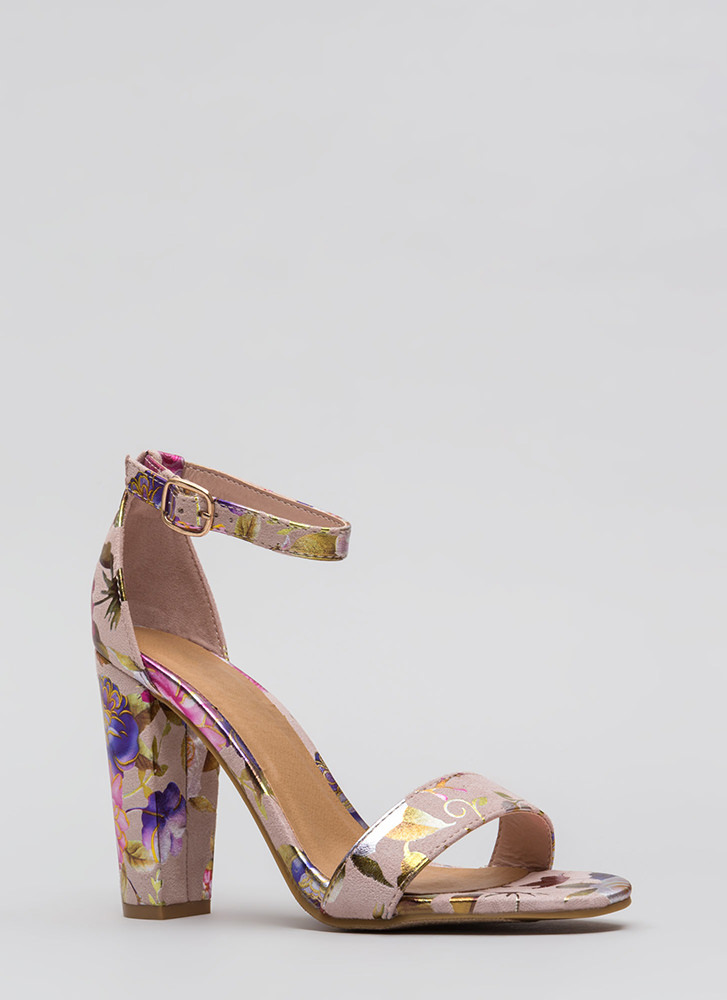 Foiled Again Floral Ankle Strap Heels BLUSH