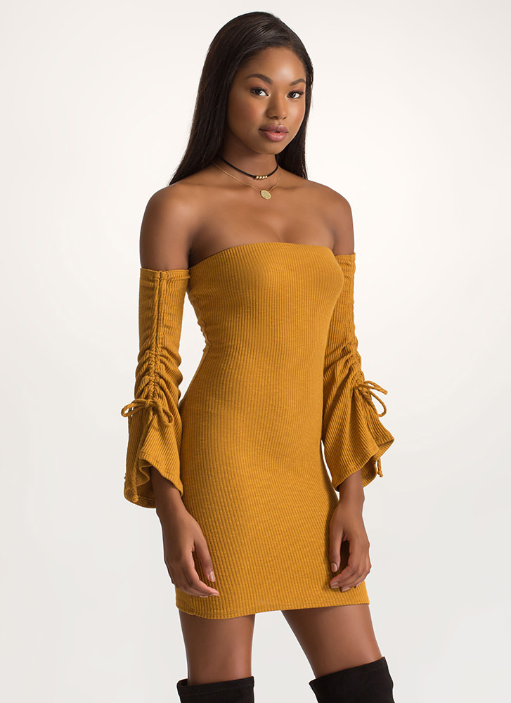 Bardot Babe Knit Bell Sleeve Dress MUSTARD