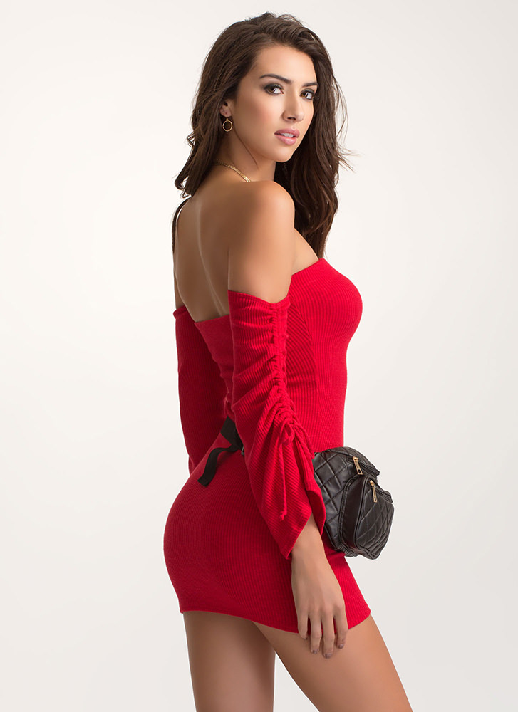 Bardot Babe Knit Bell Sleeve Dress RED