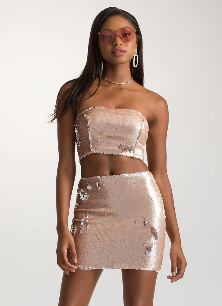 Dream Sequins Strapless Two-Piece Dress BLUSH