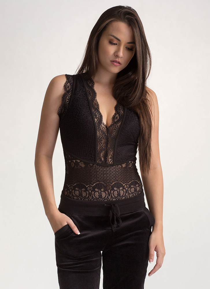 Lacy Allure Sheer Plunging Bodysuit BLACK