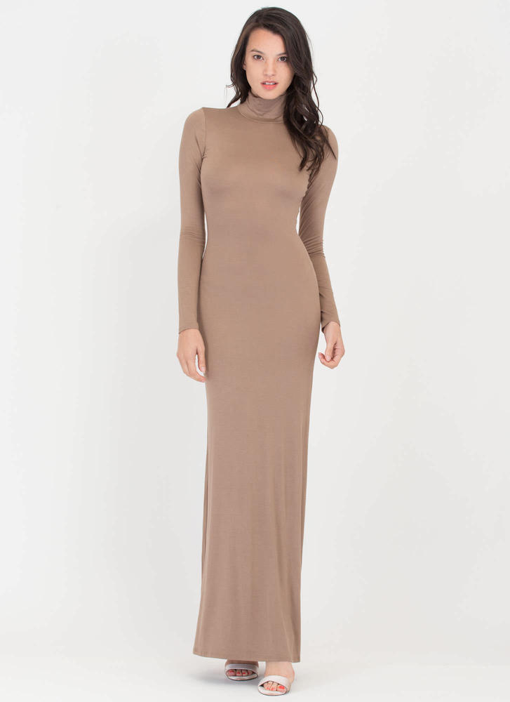 Sleek 'N Chic Turtleneck Maxi Dress TAUPE