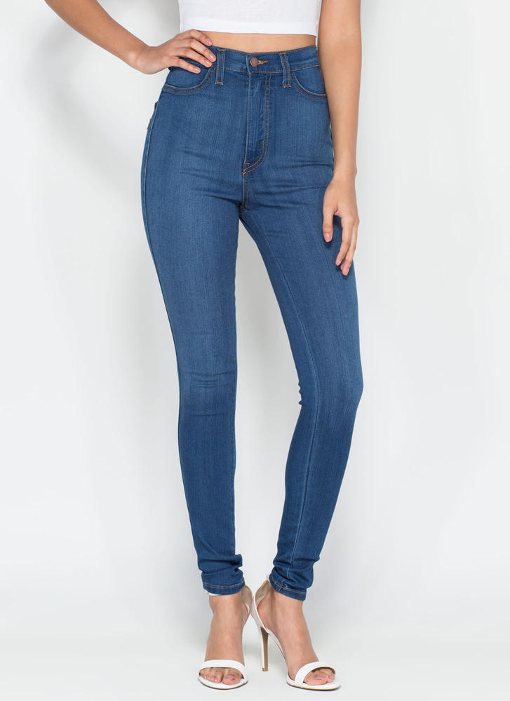 Perfectly Basic High-Waisted Jeans DKBLUE BLUE - GoJane.com