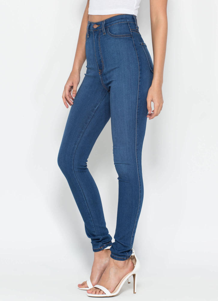 Perfectly Basic High-Waisted Jeans BLUE DKBLUE - GoJane.com