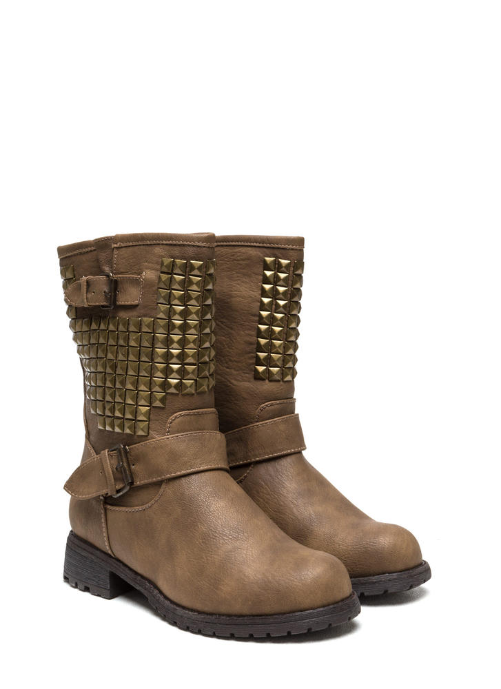 Studded Affair Buckled Boots TAUPE