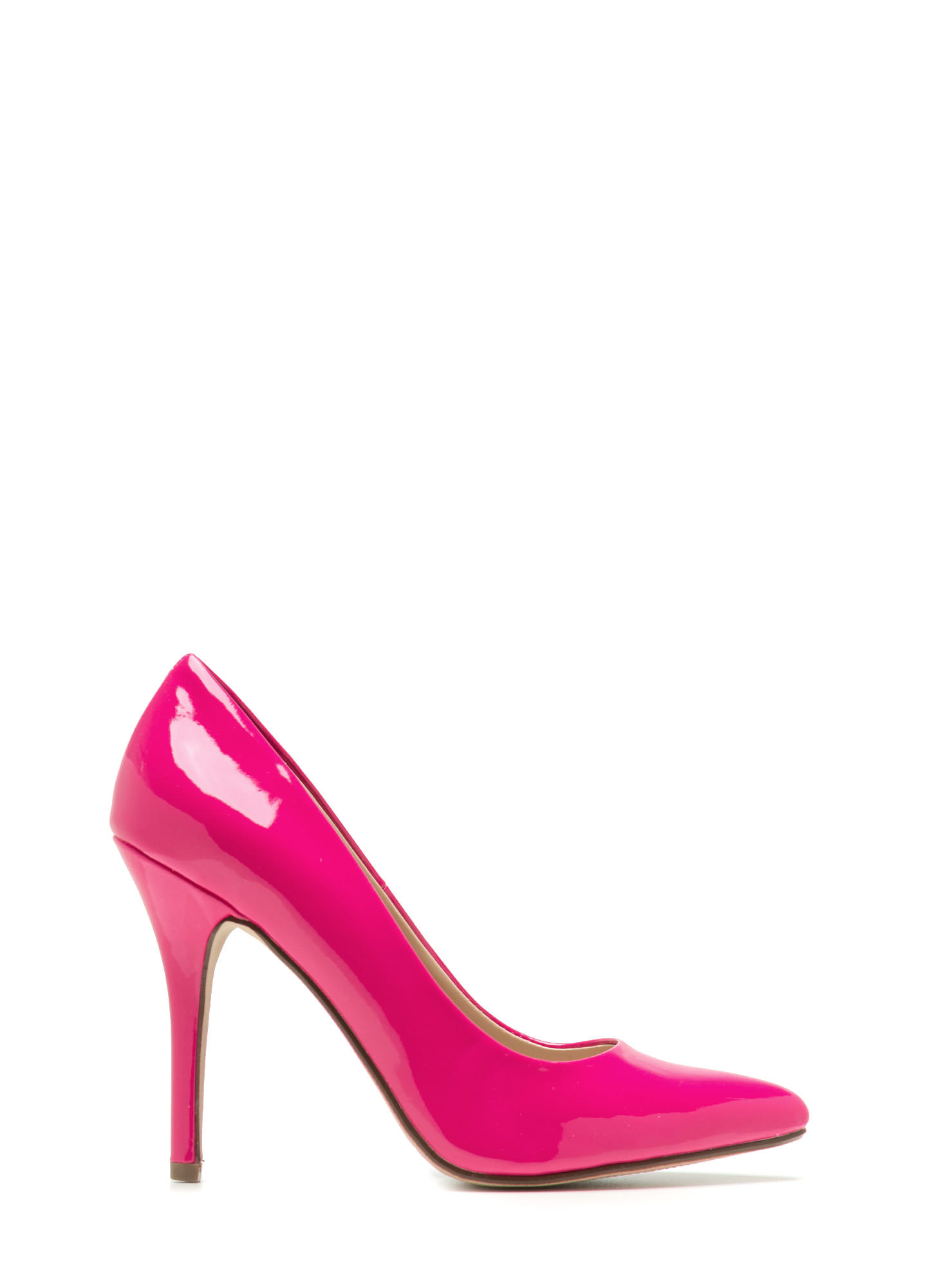 So Refined Pointy Faux Patent Pumps HOTPINK