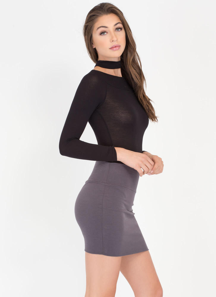 Fitted Mini Skirt CHARCOAL BLACK - GoJane.com