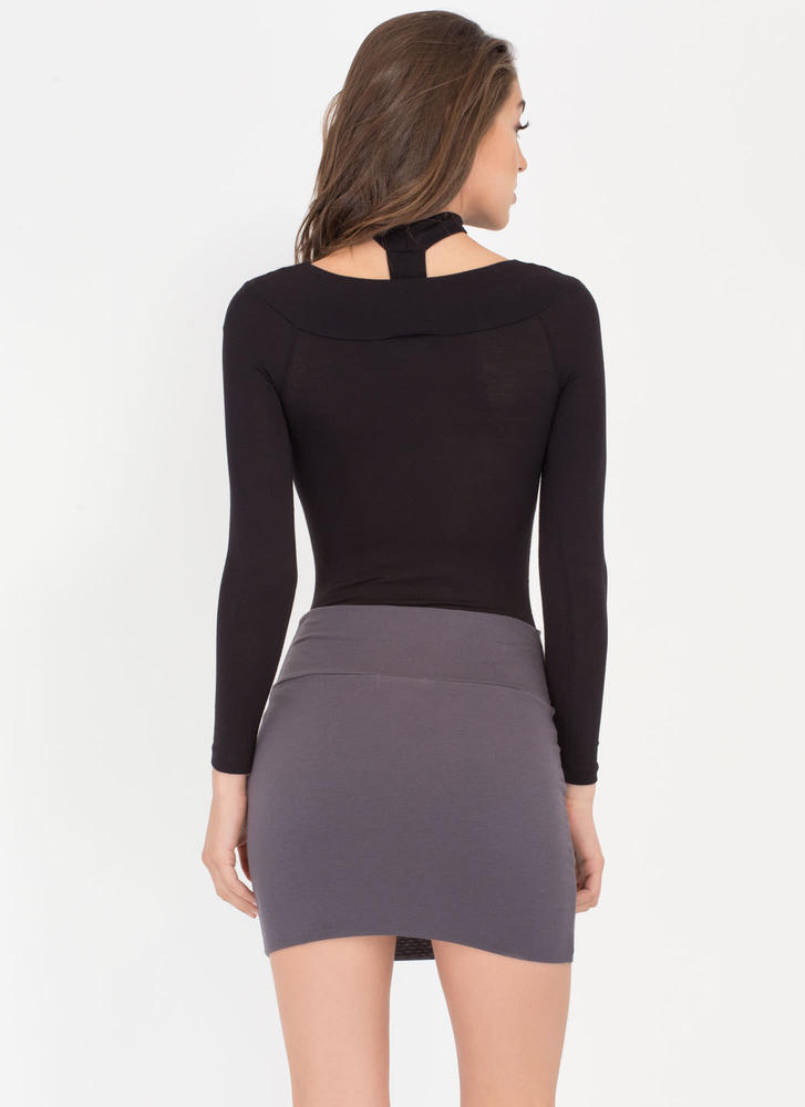 Fitted Mini Skirt CHARCOAL